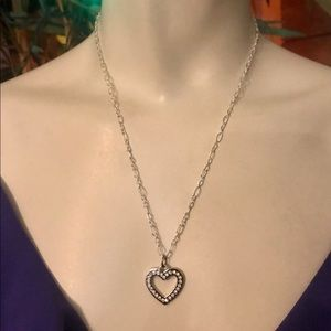 Coach Crystal Heart .925 Sterling Silver Necklace